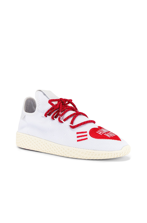 Image 1 of adidas x Pharrell Williams Tennis Hu Human Made in White & Scarlet & Cream White