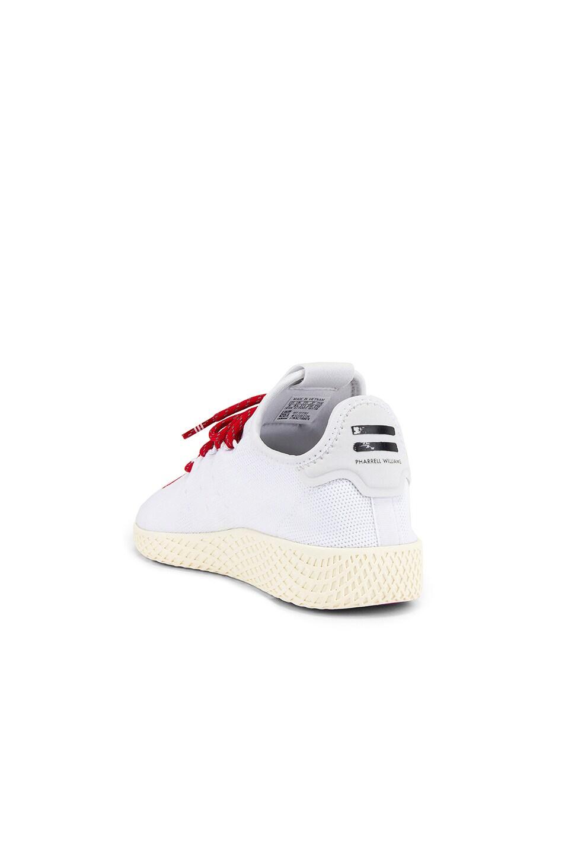 Image 3 of adidas x Pharrell Williams Tennis Hu Human Made in White & Scarlet & Cream White