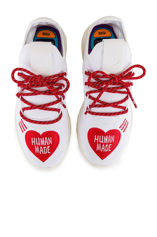 Image 4 of adidas x Pharrell Williams Tennis Hu Human Made in White & Scarlet & Cream White