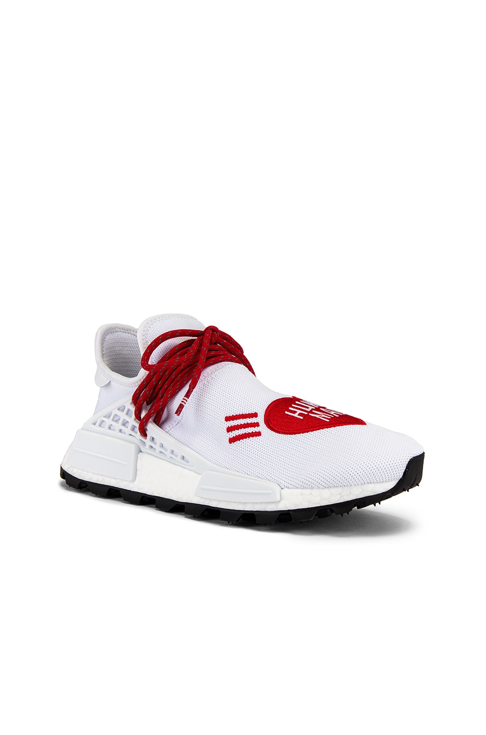 Image 1 of adidas x Pharrell Williams Hu NMD Human Made in White & Scarlet & Core Black