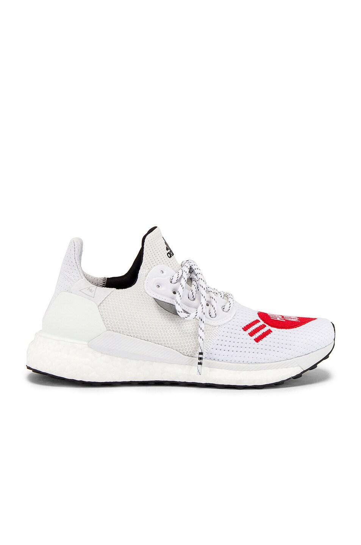 Image 2 of adidas x Pharrell Williams Solar Hu Human Made in White & Core Black & Scarlet