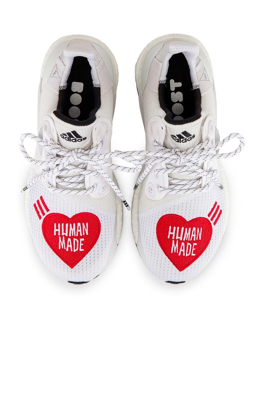 Image 4 of adidas x Pharrell Williams Solar Hu Human Made in White & Core Black & Scarlet