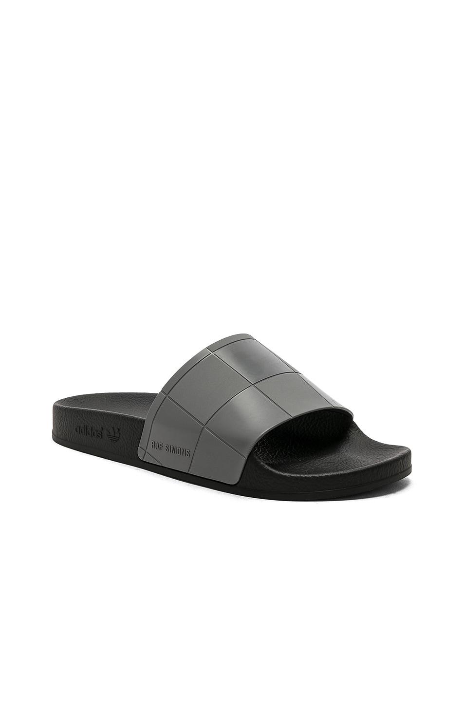 543728eeb78752 Image 1 of adidas by Raf Simons Adilette Checkerboard in Core Black   Core  Black