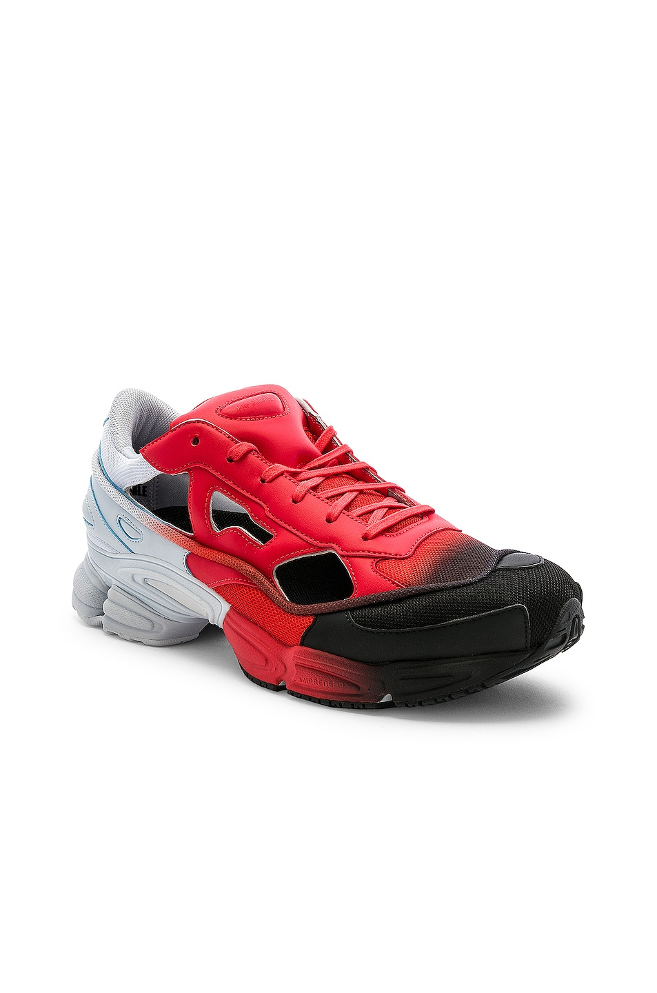 Image 1 of adidas by Raf Simons Replicant Ozweego Sneaker in Red & Halo Blue & Black