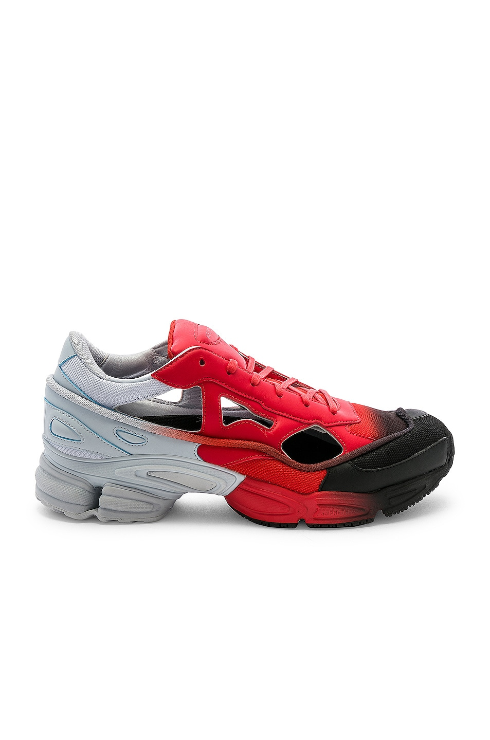Image 2 of adidas by Raf Simons Replicant Ozweego Sneaker in Red & Halo Blue & Black