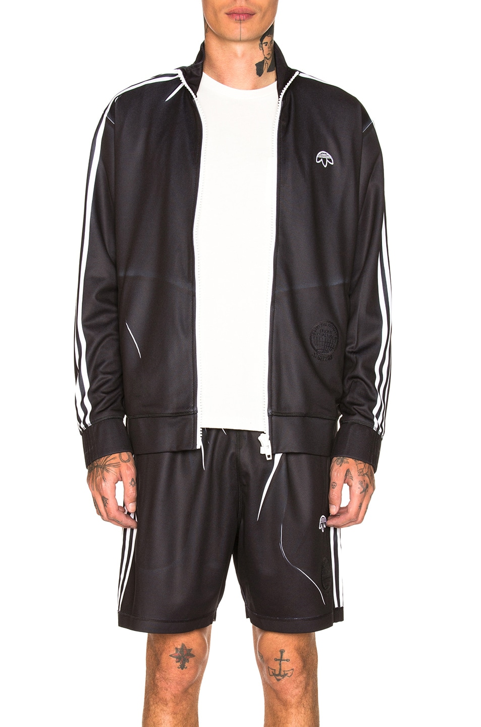 Image 1 of adidas by Alexander Wang Track Jacket in Black & White & Borang