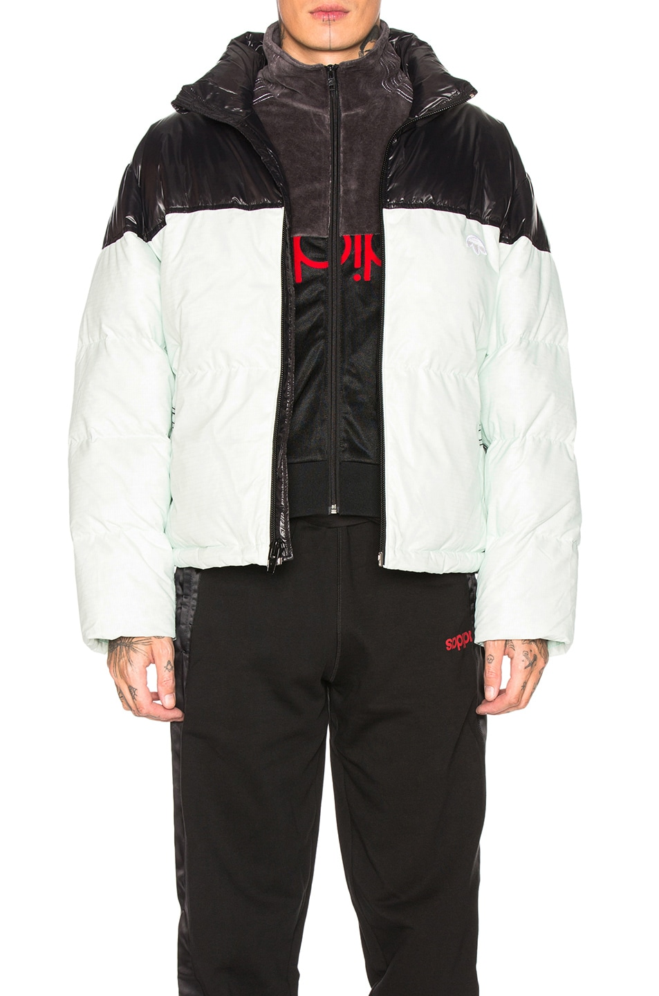 Image 1 of adidas by Alexander Wang Disjoin Puffer in Clear Mint & Black