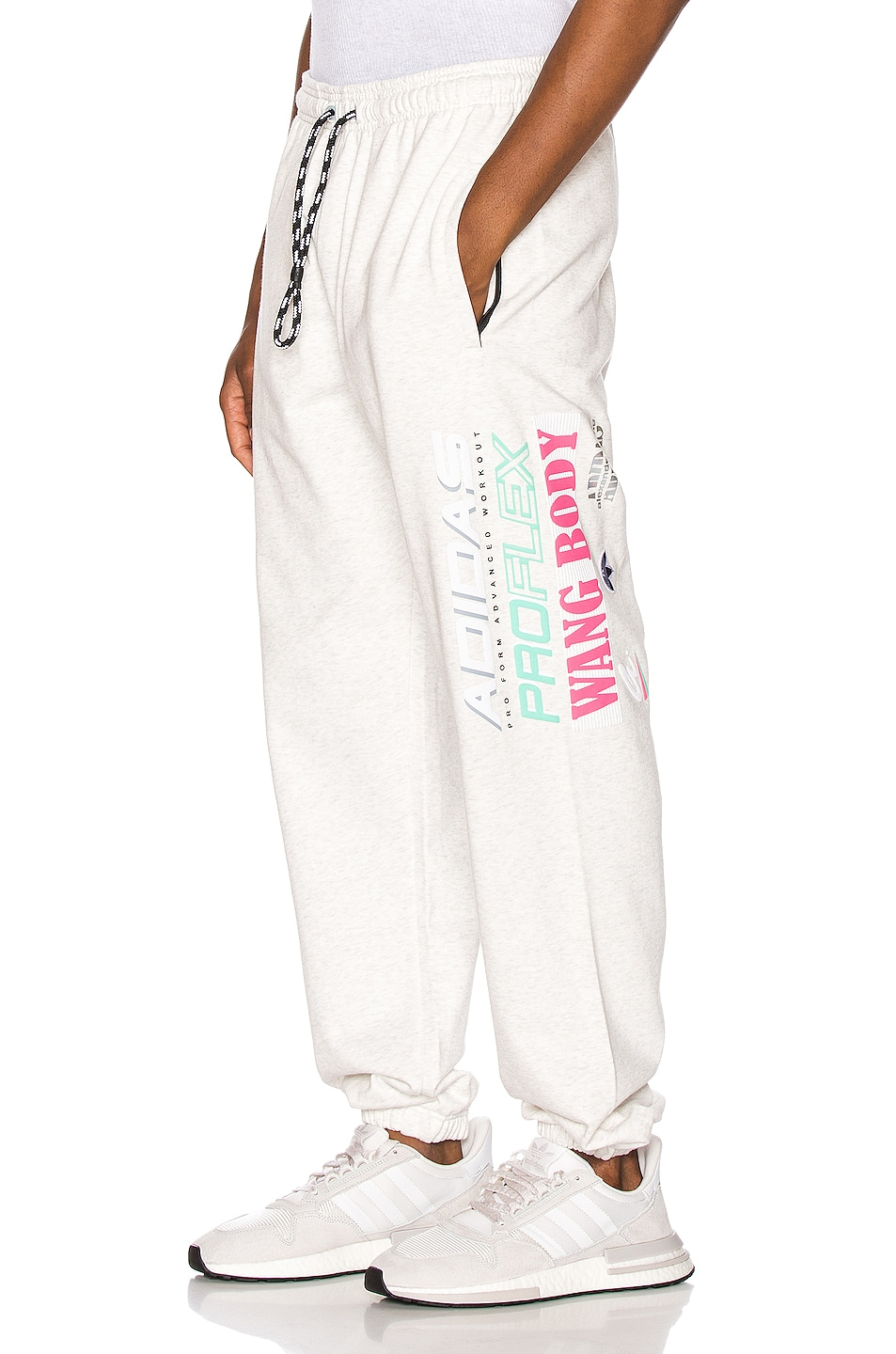 Image 1 of adidas by Alexander Wang Graphic Joggers in LGH