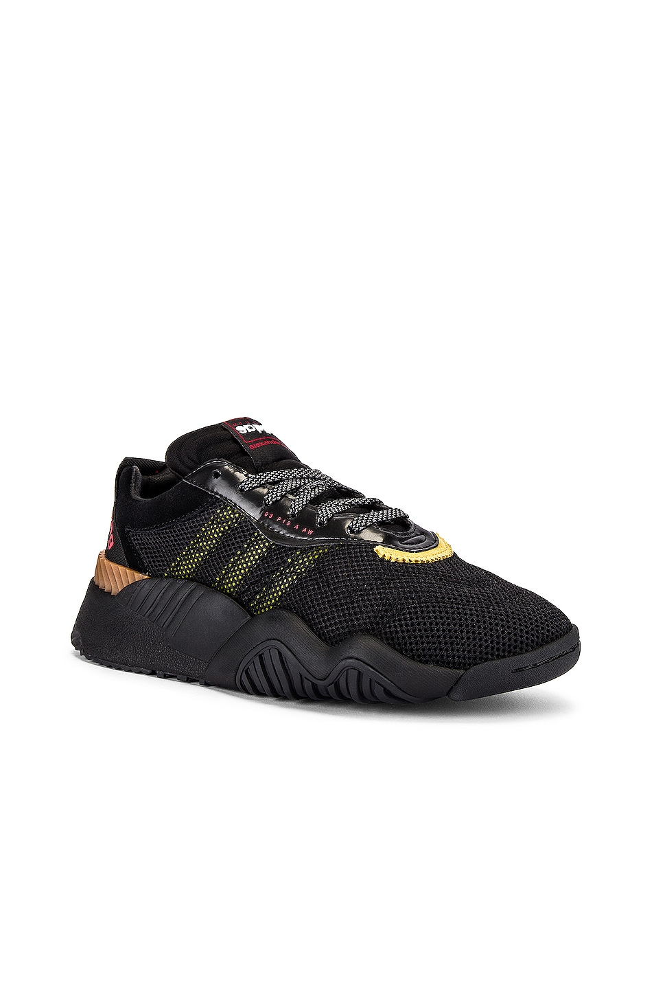 Image 1 of adidas by Alexander Wang Turnout Trainer Sneaker in Core Black & Yellow & Light Brown