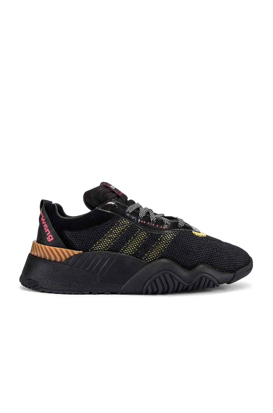 Image 2 of adidas by Alexander Wang Turnout Trainer Sneaker in Core Black & Yellow & Light Brown