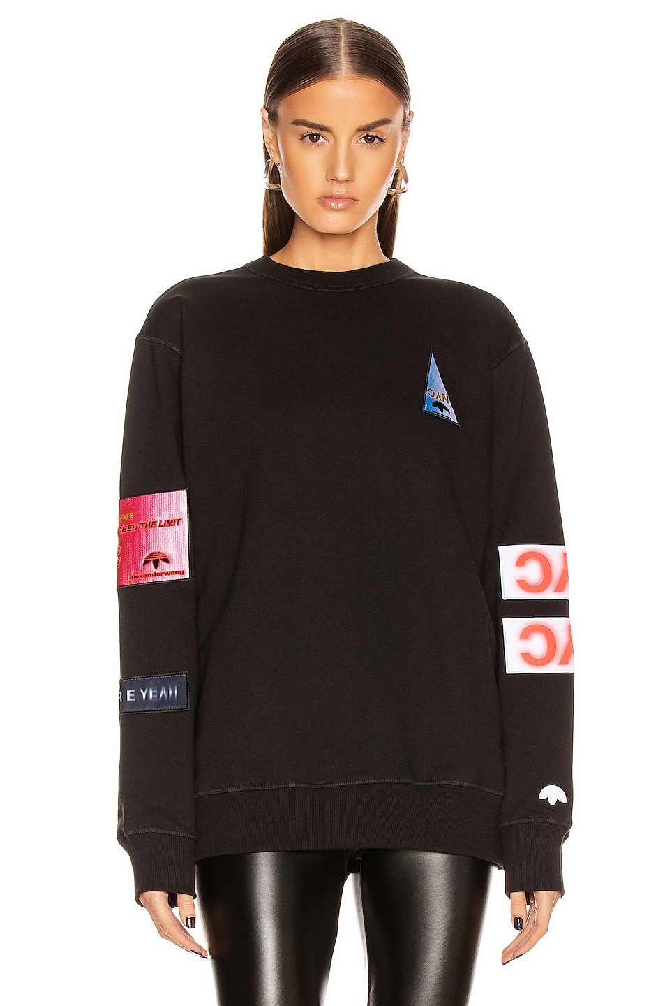 Image 1 of adidas by Alexander Wang Flex2Club Crew Neck Sweater in Black