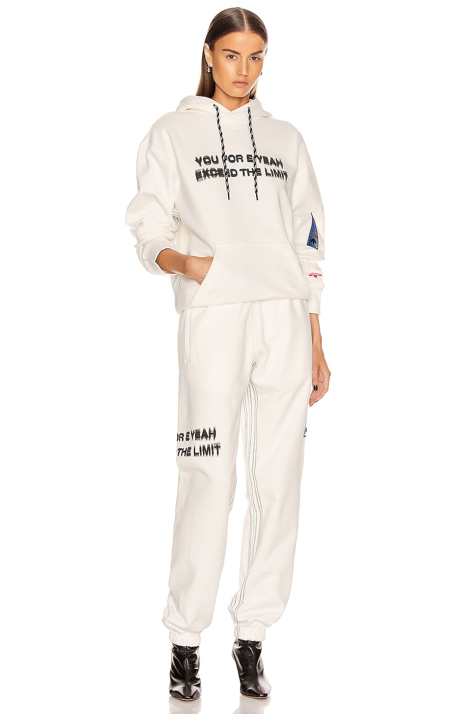 Image 5 of adidas by Alexander Wang Graphic Joggers in Core White