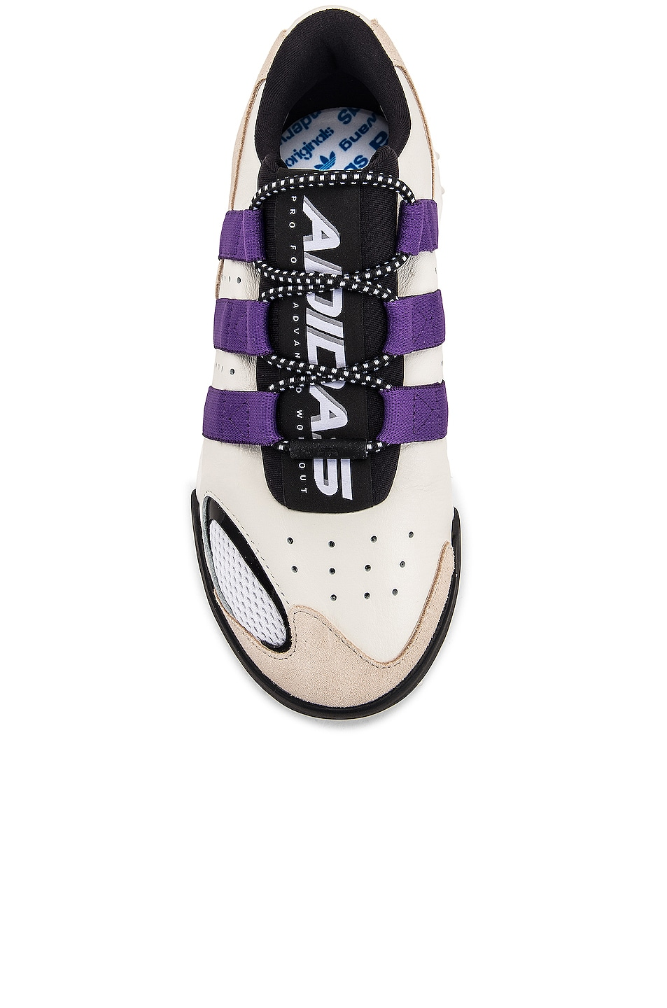 Image 4 of adidas by Alexander Wang Wangbody Run Sneaker in Core White, Sharp Purple F11 & Clear Brown