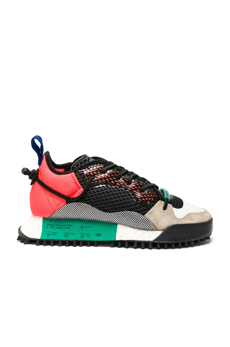 Image 1 of adidas by Alexander Wang Reissue Run Sneakers in Red, Black & Green