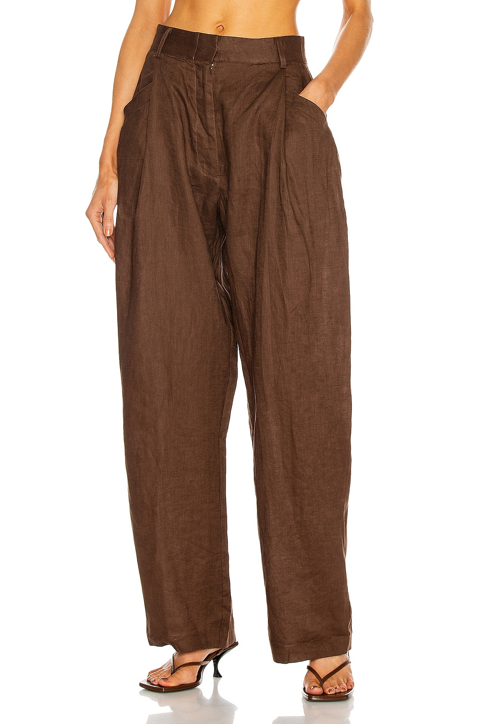 Image 1 of AEXAE Linen Pant in Chocolate