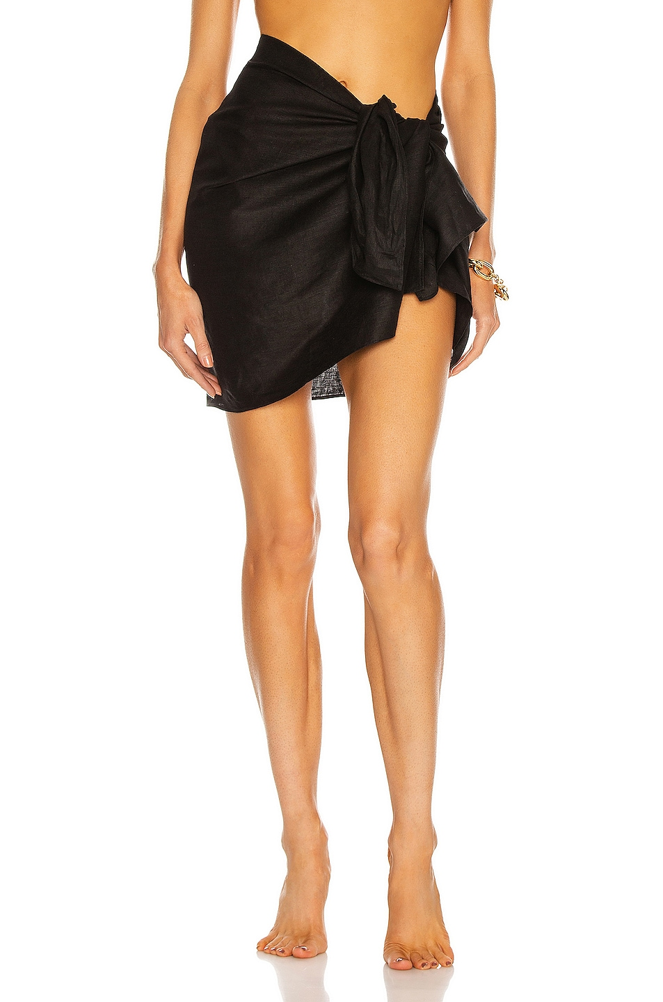 Image 1 of AEXAE Linen Mini Sarong in Black