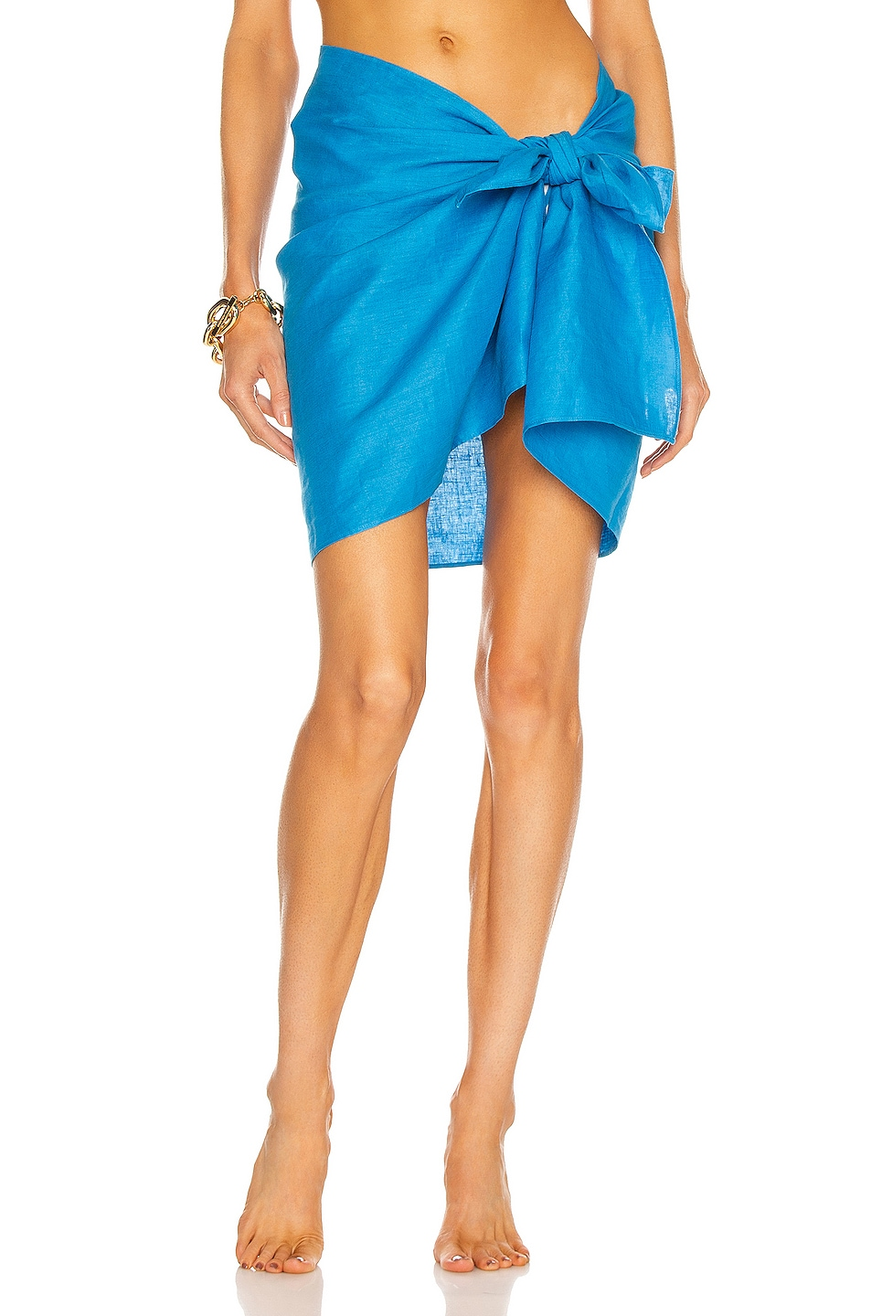Image 1 of AEXAE Linen Mini Sarong in Blue