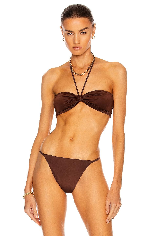 Image 1 of AEXAE Micro Tie Neck Bikini Top in Chocolate