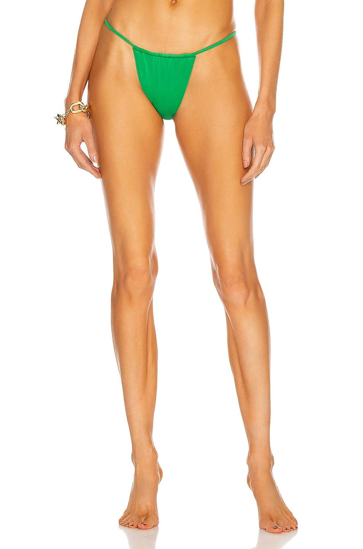 Image 1 of AEXAE Gathered Bikini Bottom in Green