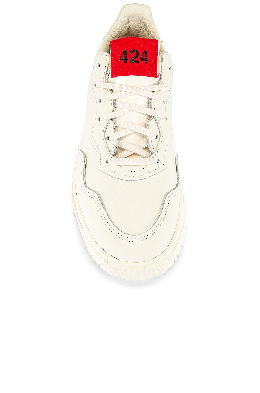 Image 4 of adidas x 424 SC Premier in Chalk White & Chalk White & Scarlet
