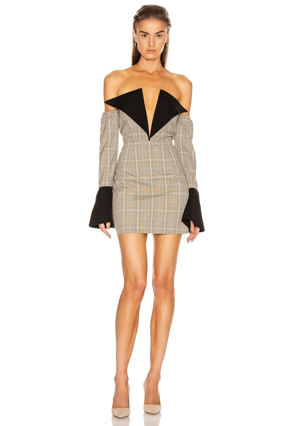 Image 1 of Atoir Sharp Edges Dress in Tan, Blue Check & Black