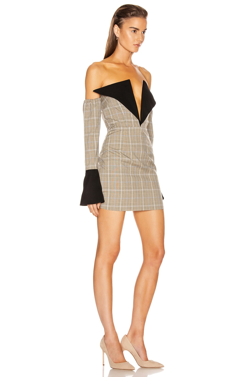 Image 2 of Atoir Sharp Edges Dress in Tan, Blue Check & Black