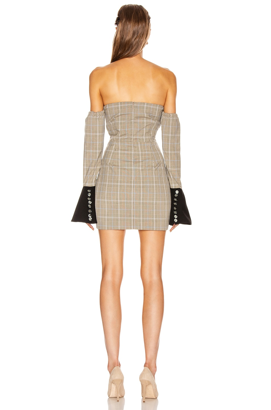 Image 3 of Atoir Sharp Edges Dress in Tan, Blue Check & Black