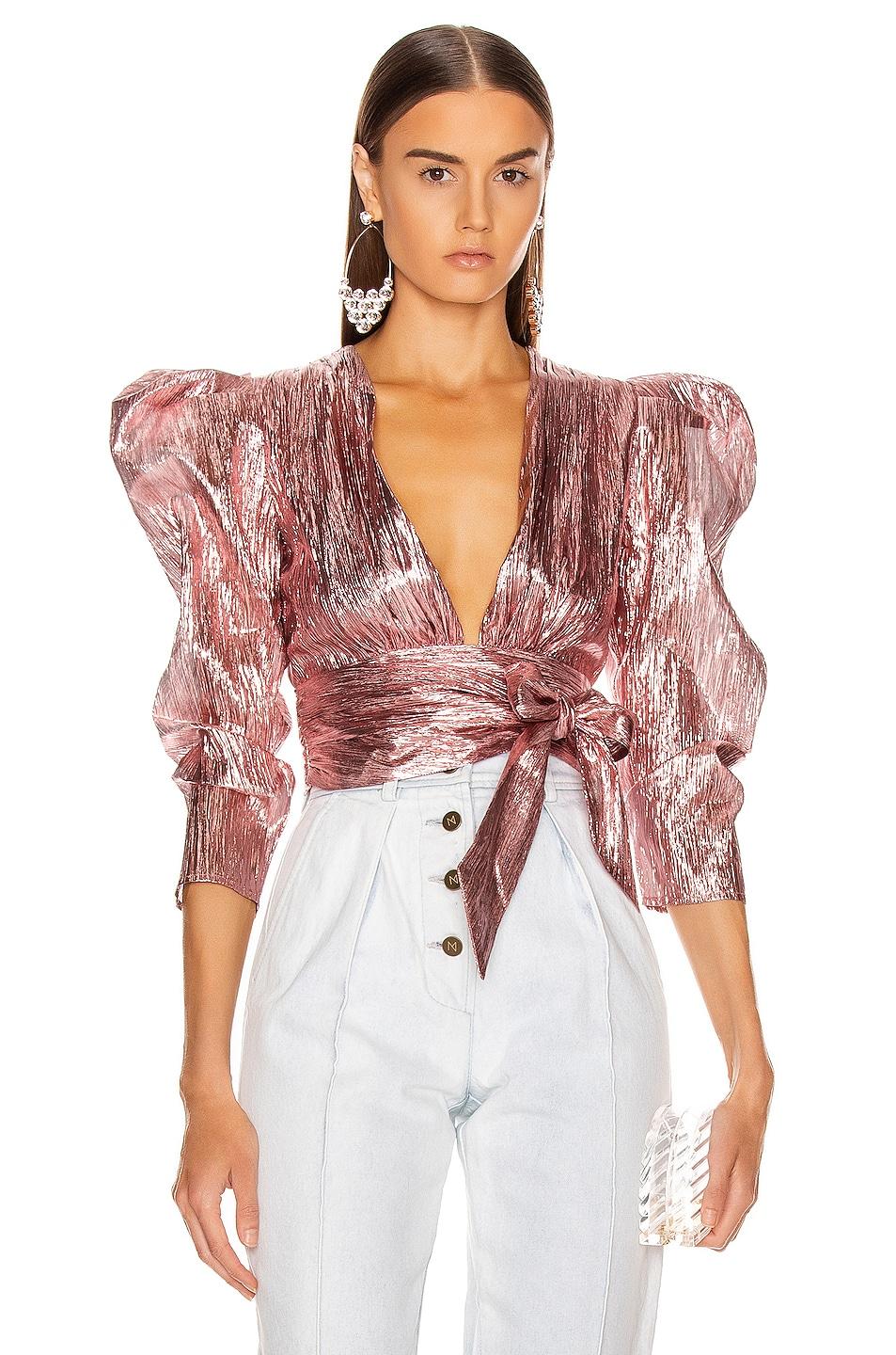 Image 1 of Atoir Close Call Crop Top in Orchid Pink