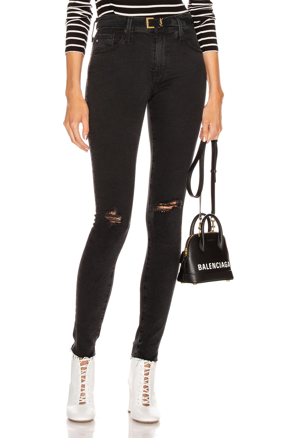 Image 1 of AG Adriano Goldschmied Farrah Skinny in Altered Black Destructed
