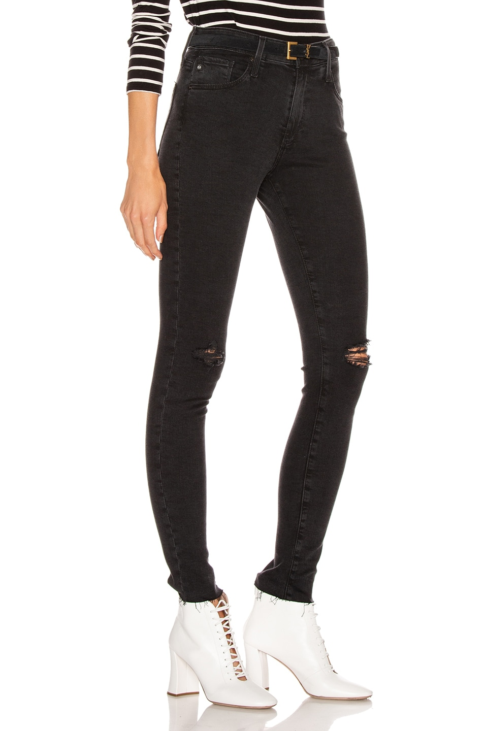 Image 2 of AG Adriano Goldschmied Farrah Skinny in Altered Black Destructed