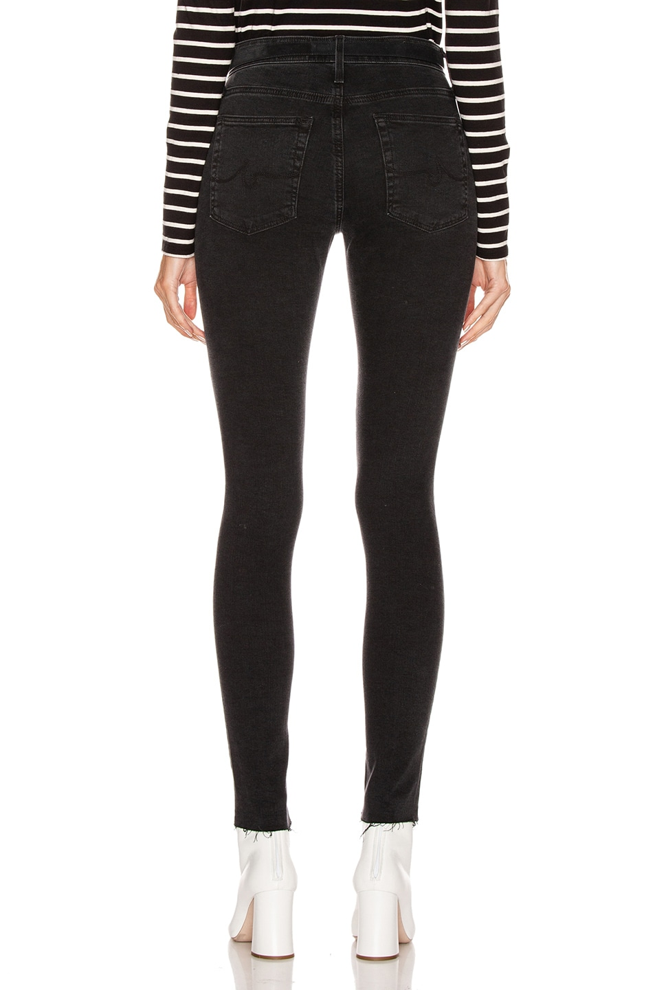 Image 3 of AG Adriano Goldschmied Farrah Skinny in Altered Black Destructed