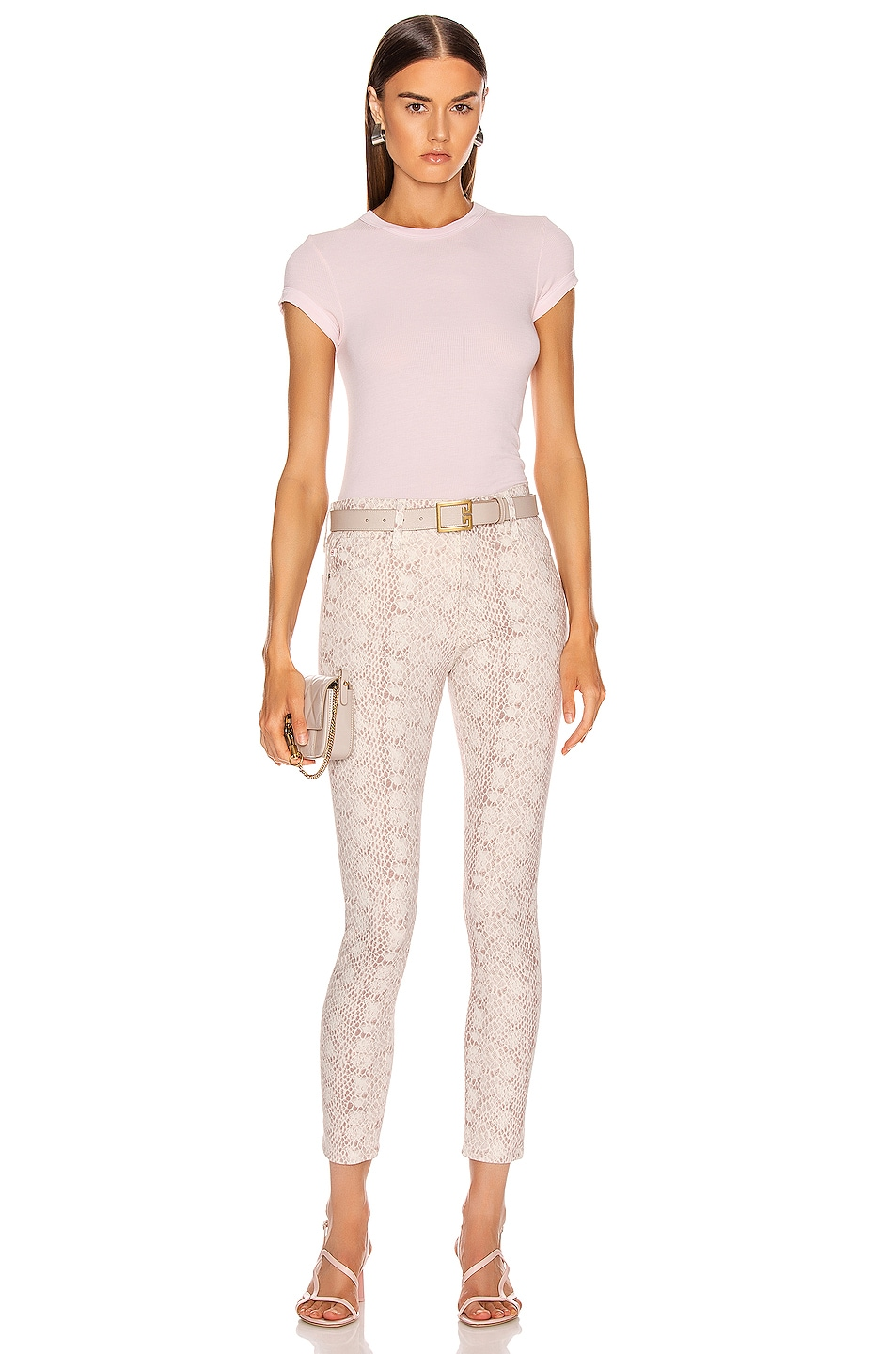 Image 4 of AG Adriano Goldschmied Farrah Skinny Ankle in Silk Python Ivory Dust