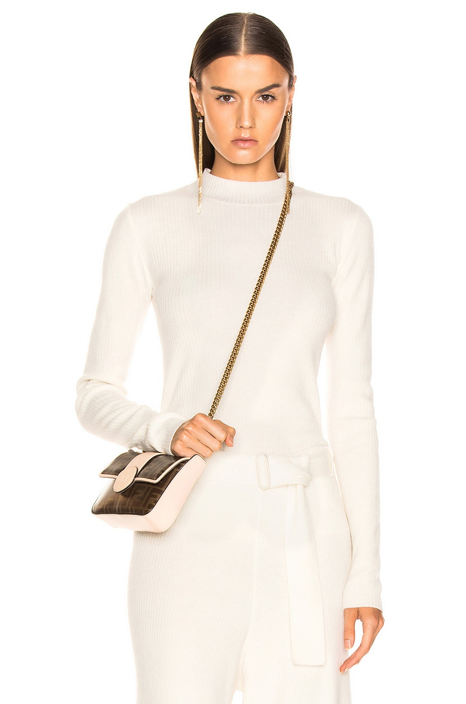 Image 1 of AG Adriano Goldschmied Quinton Mock Neck Knit in Ivory Dust