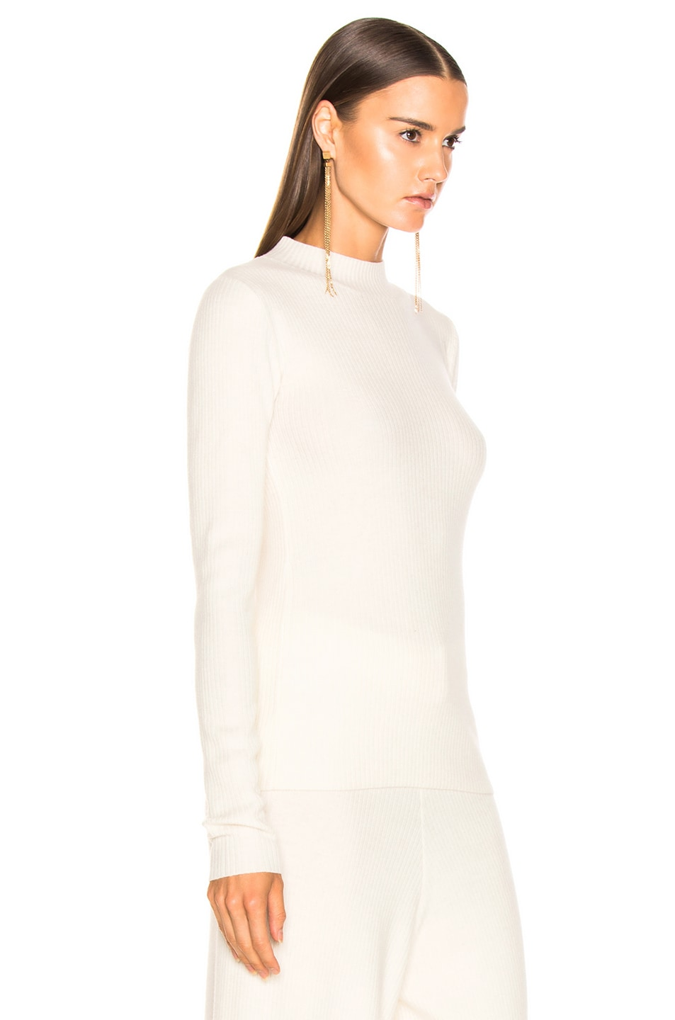 Image 2 of AG Adriano Goldschmied Quinton Mock Neck Knit in Ivory Dust