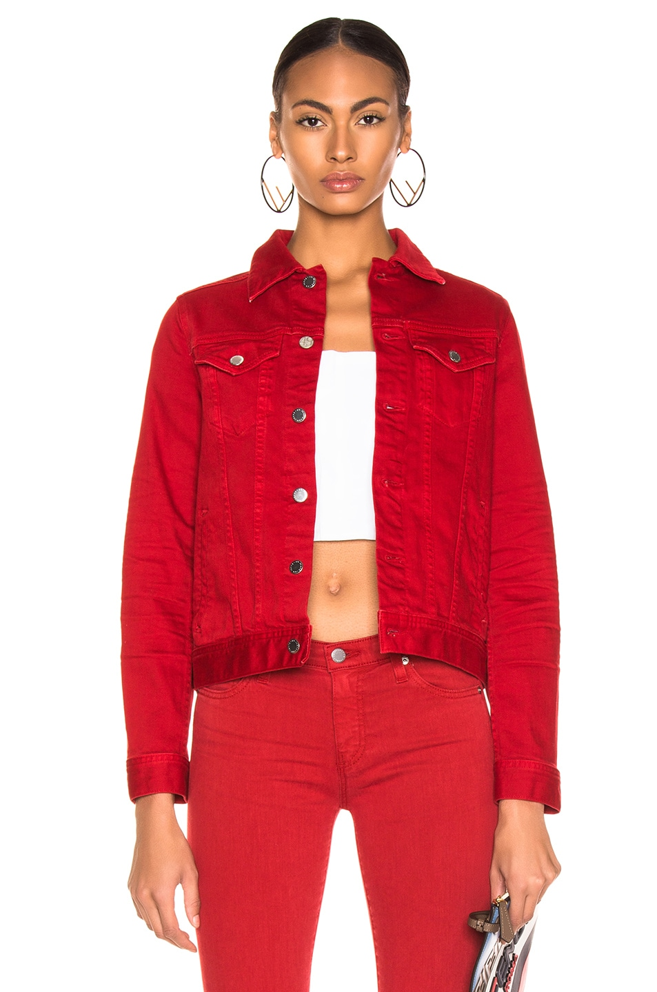 Image 1 of AG Adriano Goldschmied Mya Jacket in 1 Year Hi White Clever Red