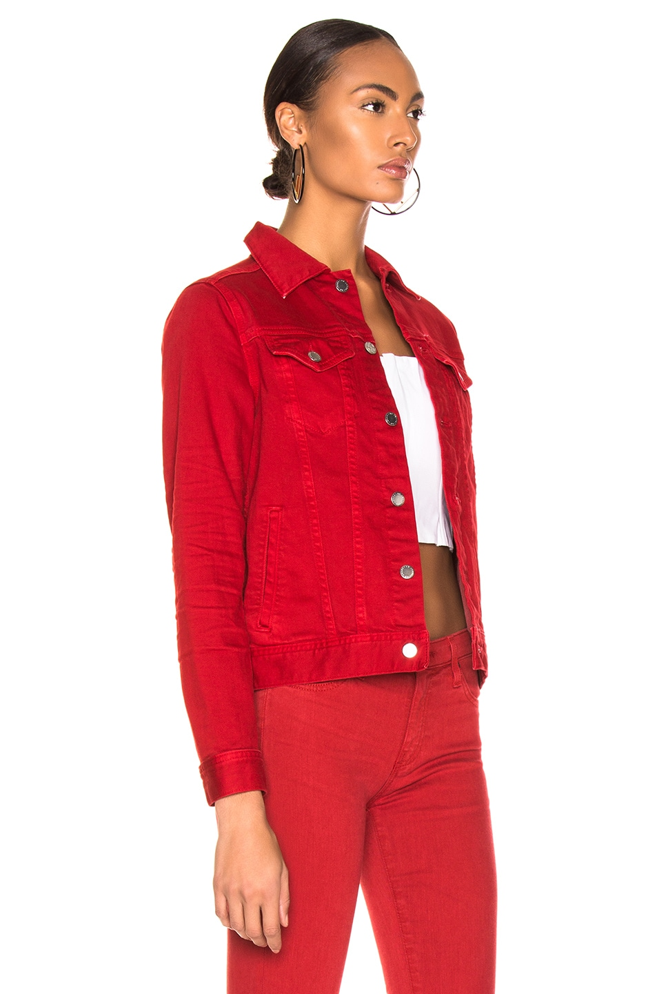 Image 2 of AG Adriano Goldschmied Mya Jacket in 1 Year Hi White Clever Red