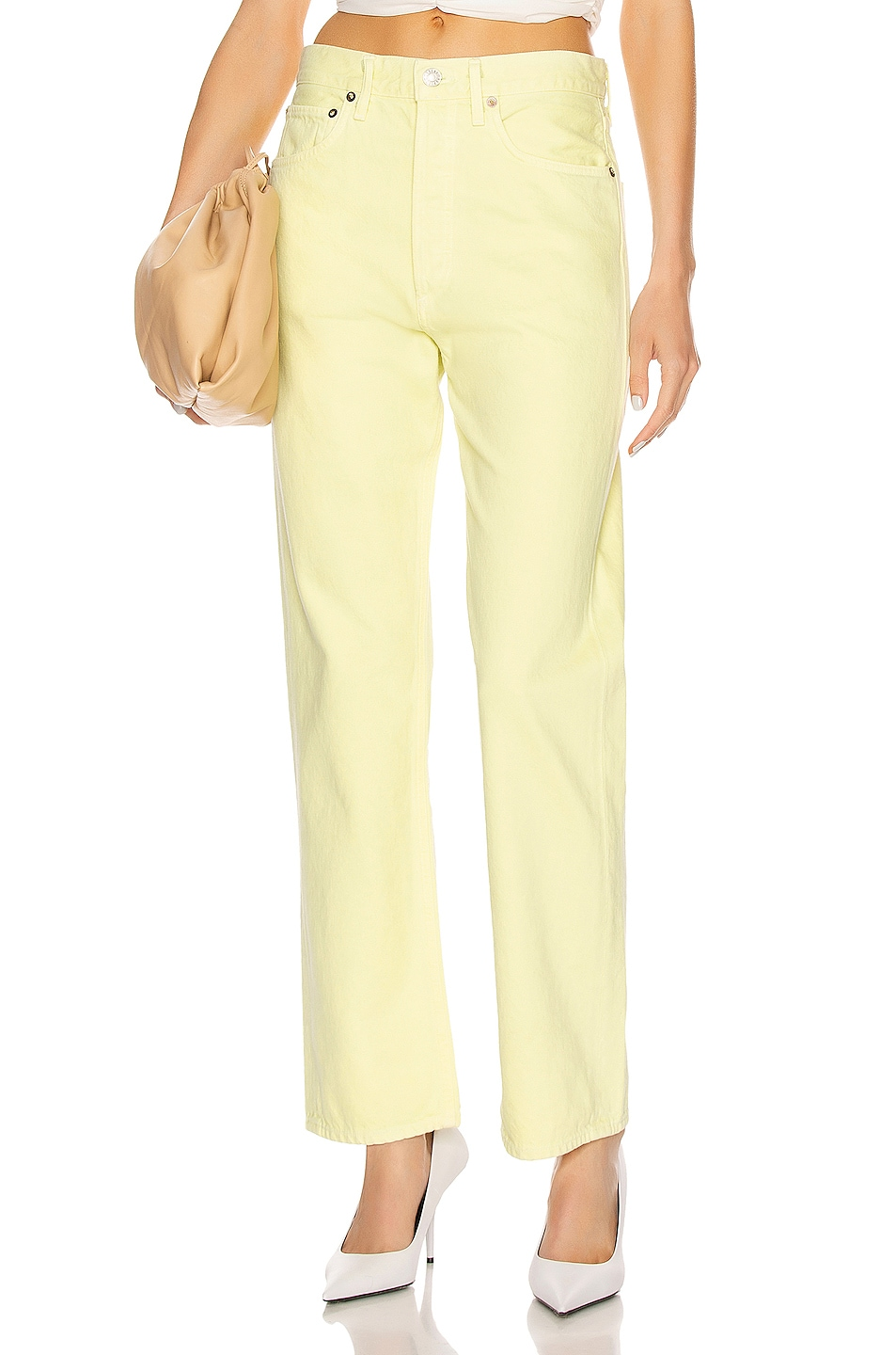 Image 1 of AGOLDE 90's Mid Rise Loose Fit in Limoncello