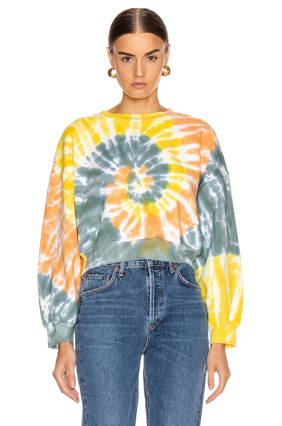 Image 1 of AGOLDE Balloon Sleeve Tie Dye Sweatshirt in Swirled