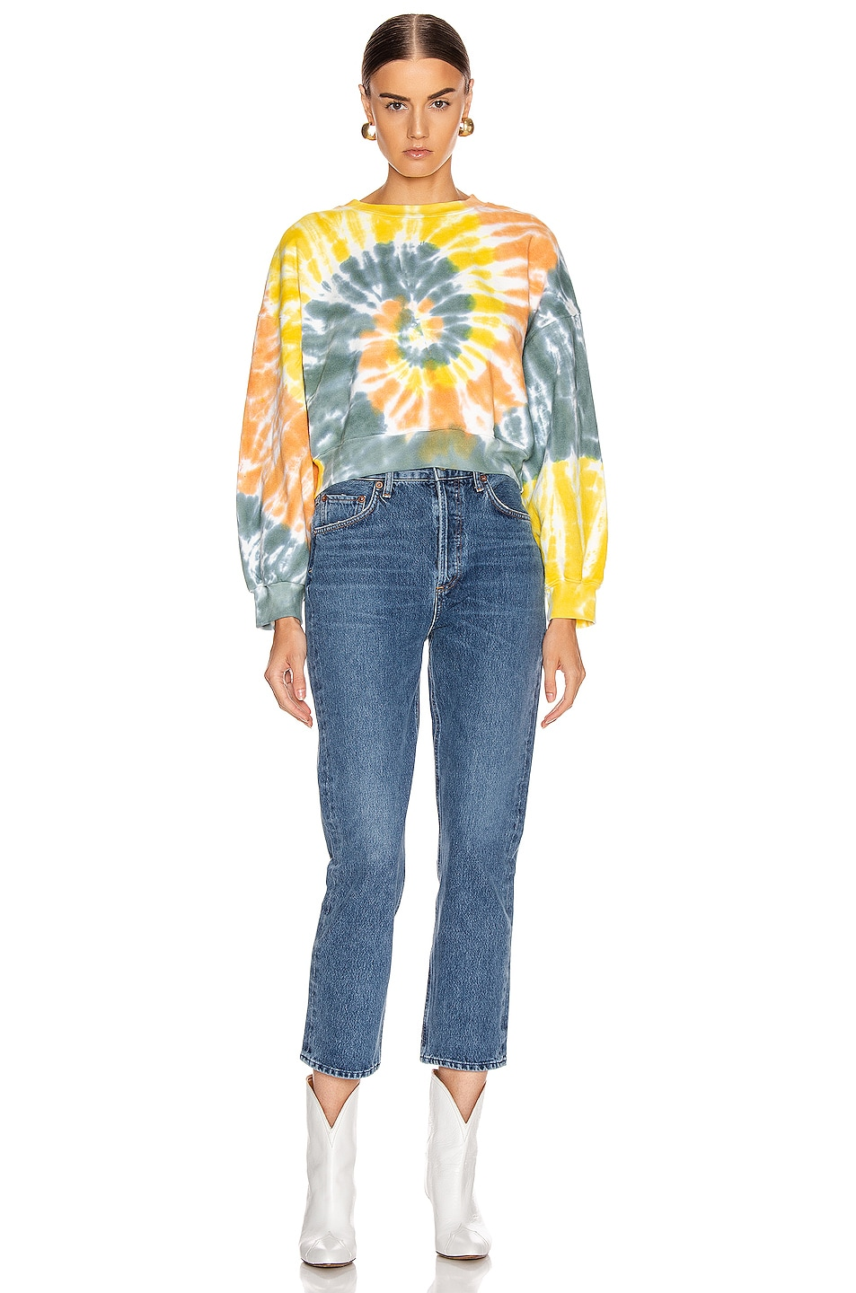 Image 4 of AGOLDE Balloon Sleeve Tie Dye Sweatshirt in Swirled