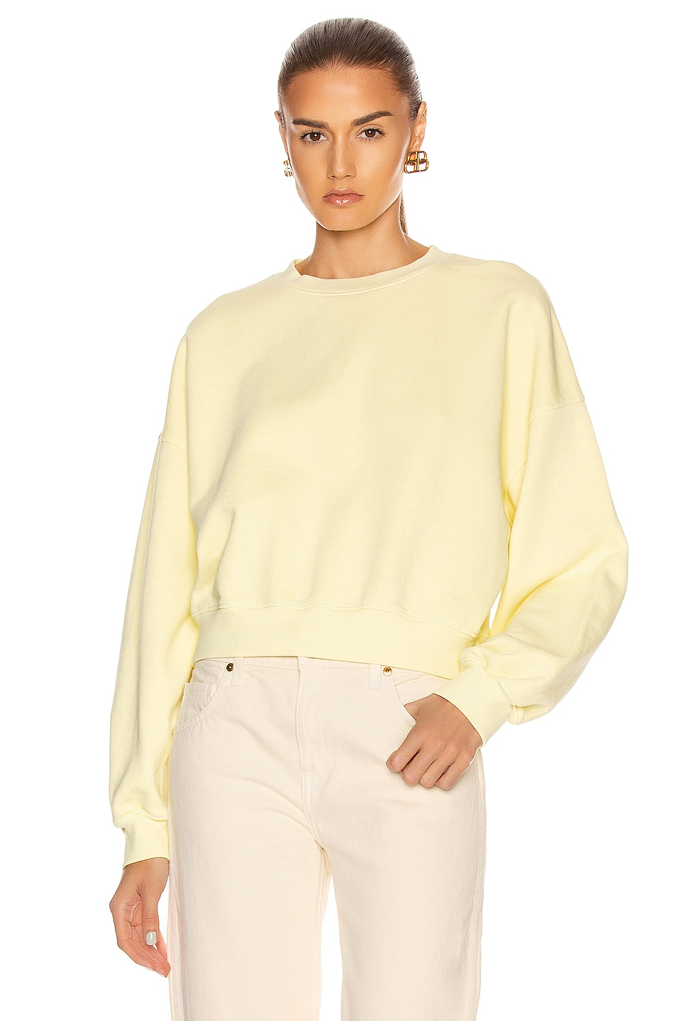 Image 1 of AGOLDE Balloon Sleeve Sweatshirt in Limoncello
