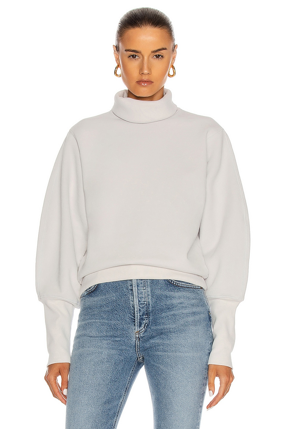 Image 1 of AGOLDE Extended Rib Sweatshirt in Paper Mache