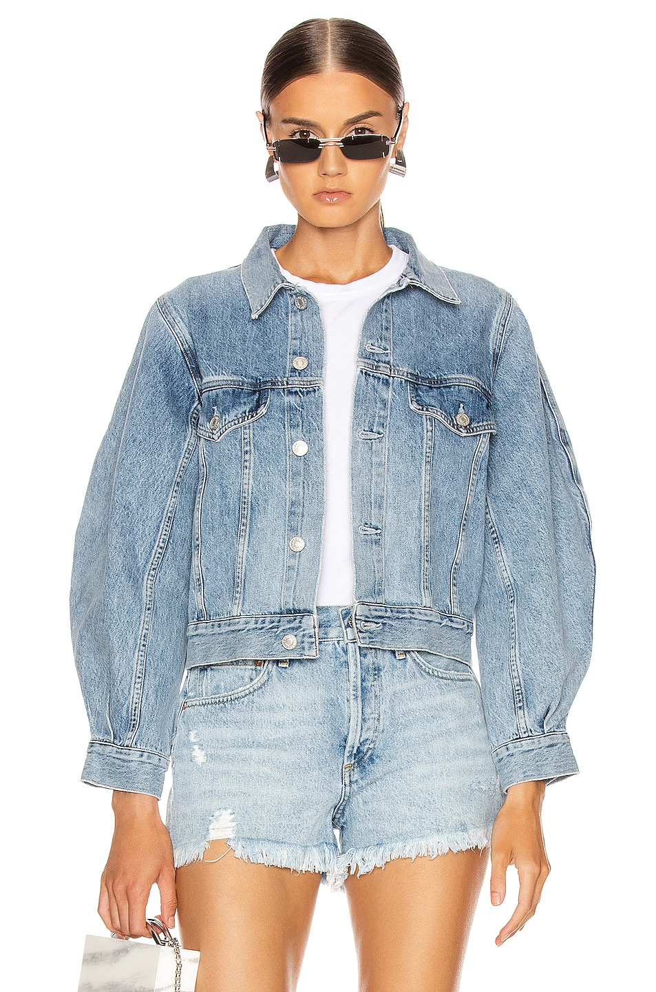 Image 1 of AGOLDE Alik Balloon Sleeve Denim Jacket in Hypnosis
