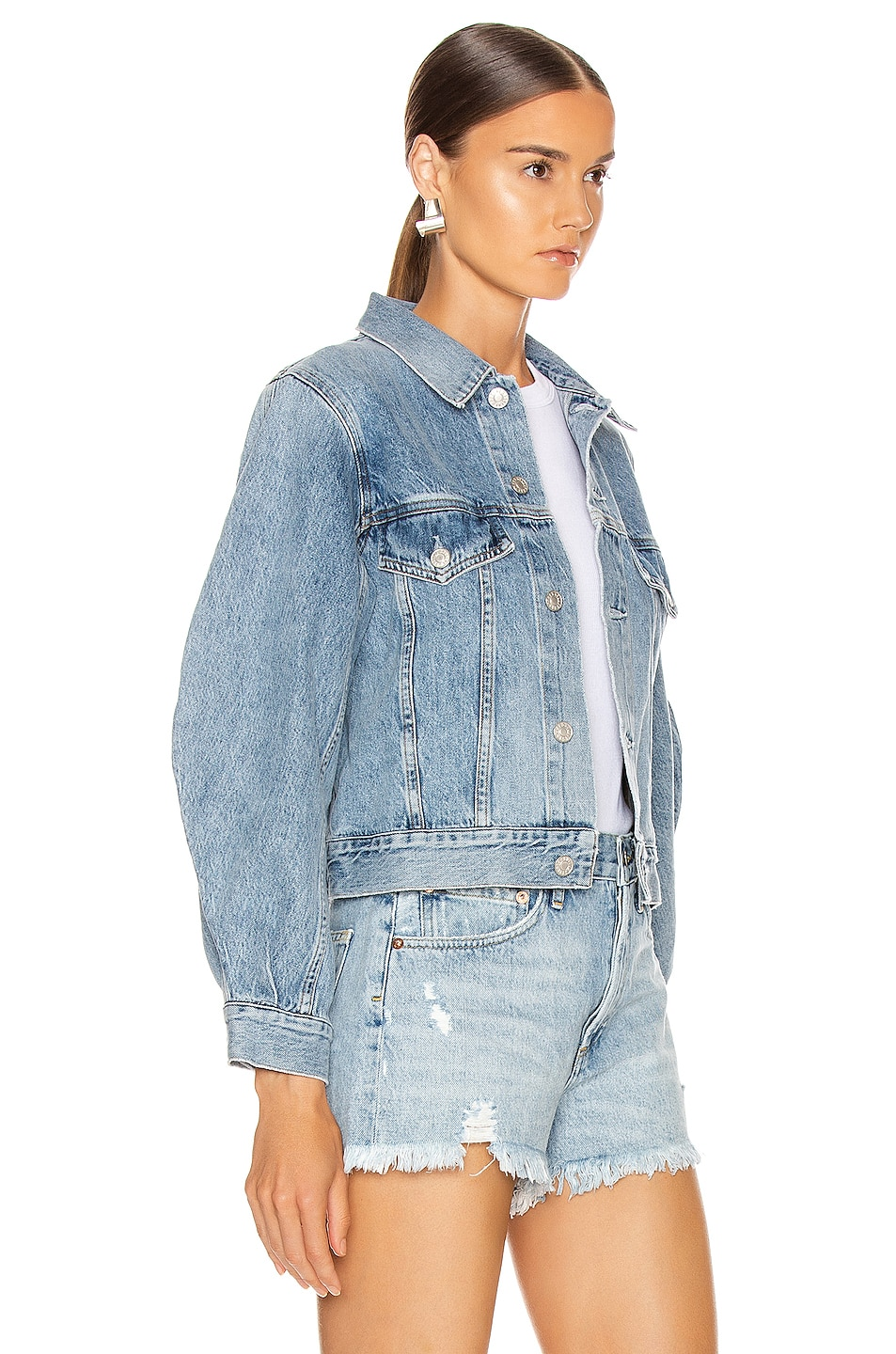 Image 2 of AGOLDE Alik Balloon Sleeve Denim Jacket in Hypnosis