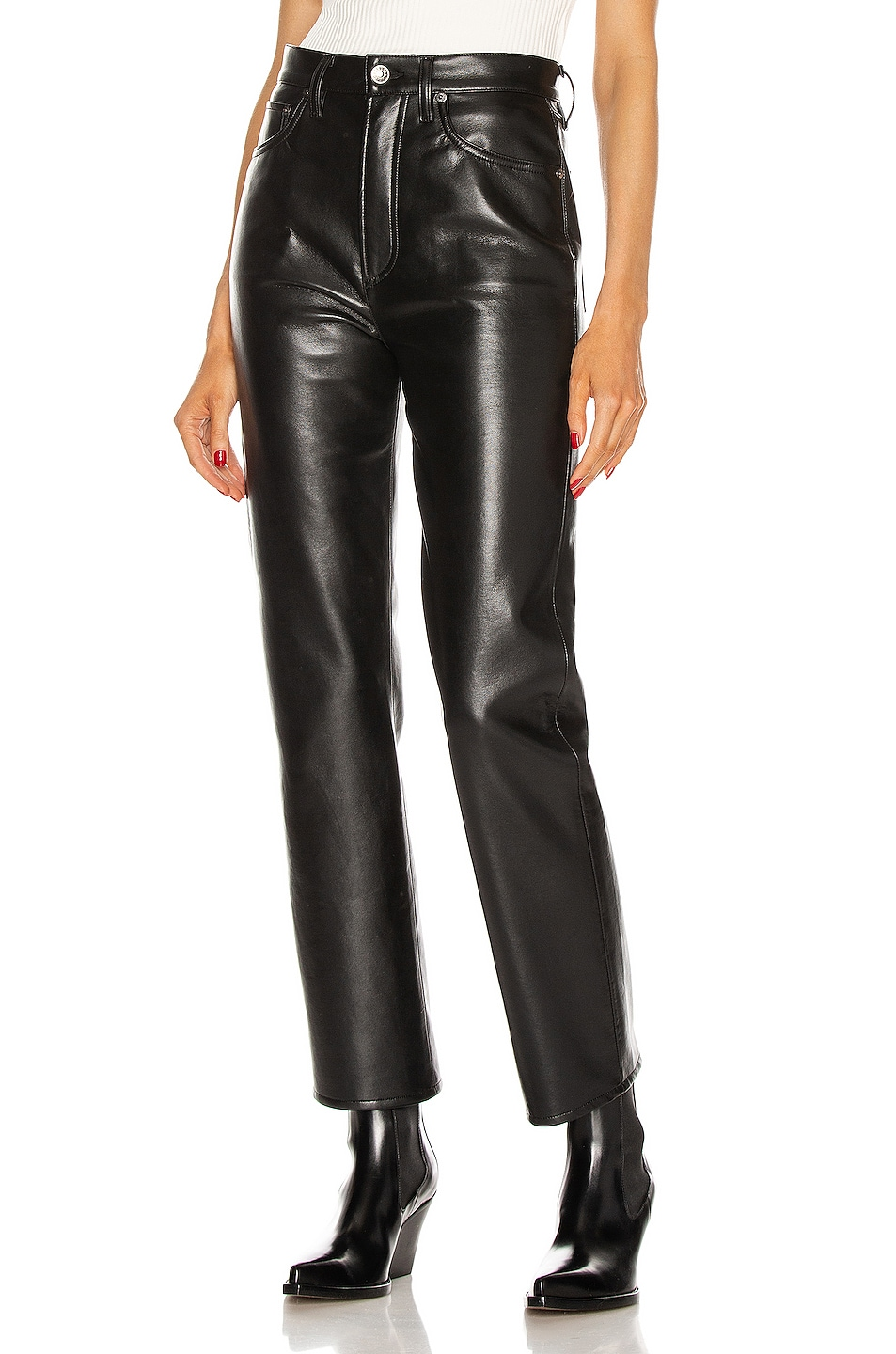 Image 1 of AGOLDE Recycled Leather 90's Pinch Waist in Detox