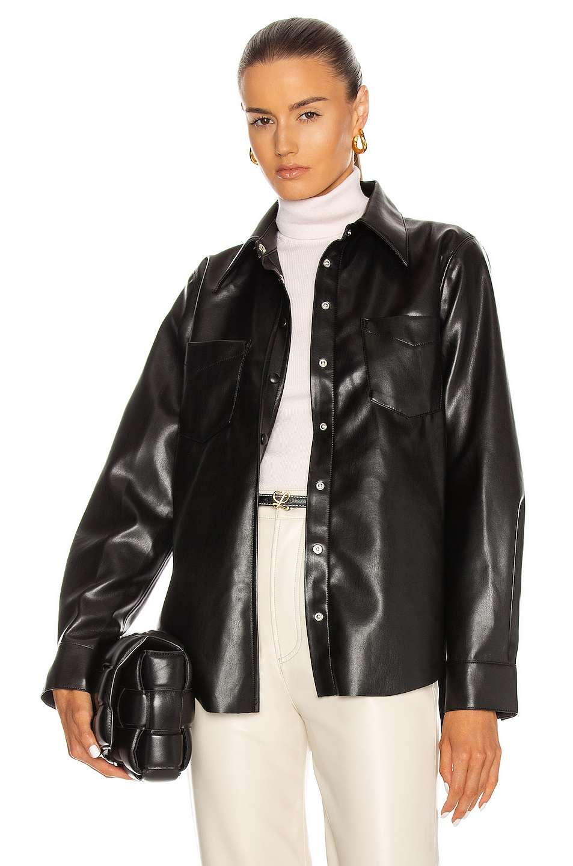 Image 1 of AGOLDE Paloma Vegan Leather Shirt in Detox