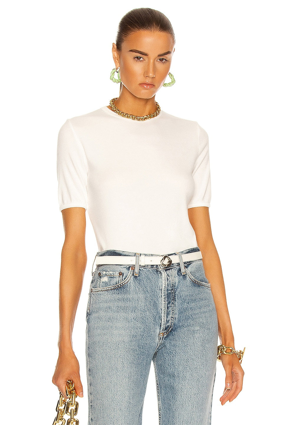 Image 1 of AGOLDE Relaxed Rib Tee in White
