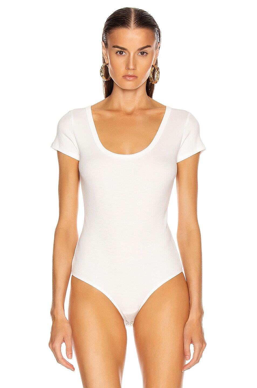 Image 2 of AGOLDE Short Sleeve Rib Bodysuit in White