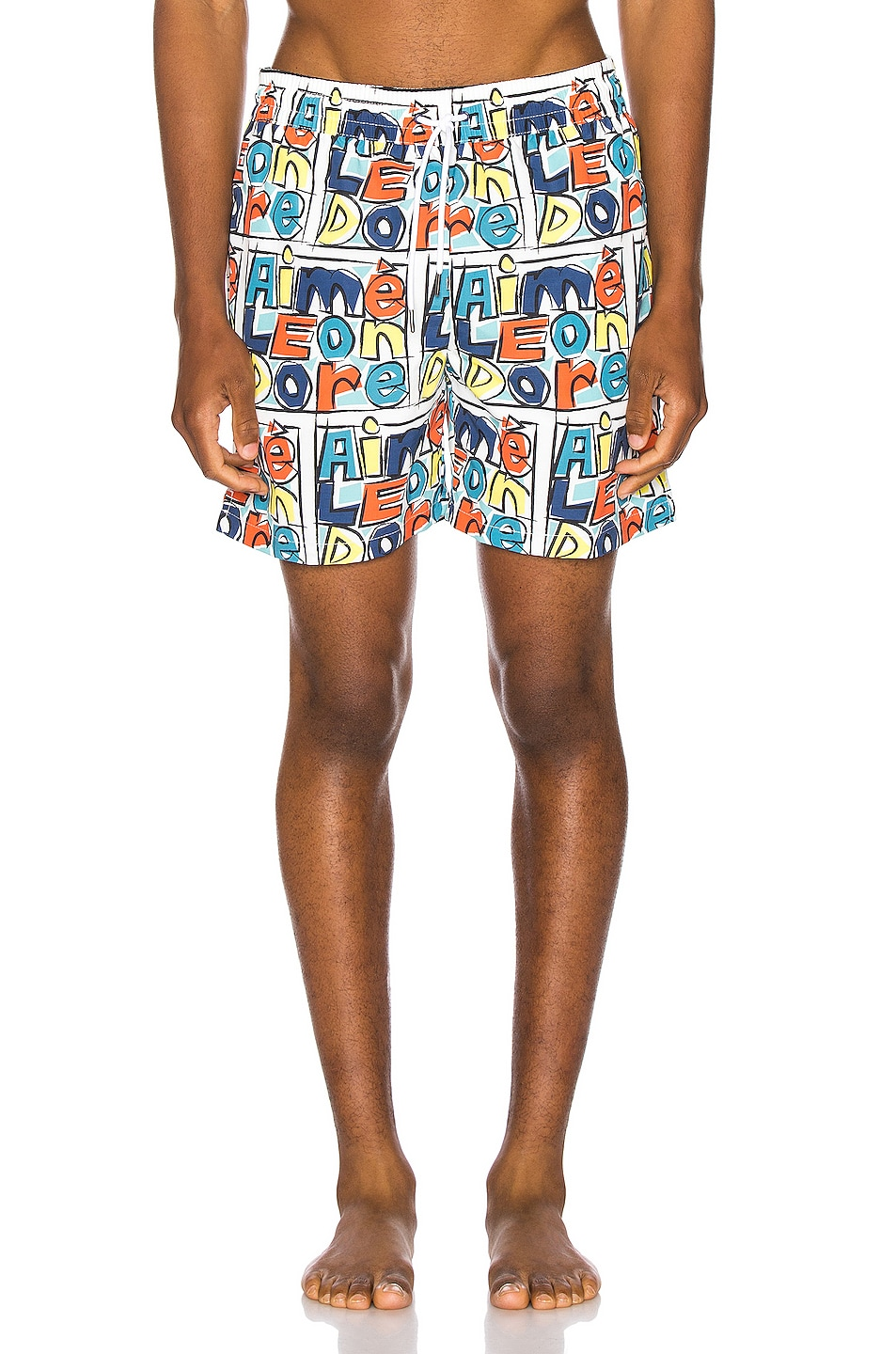 Image 1 of Aime Leon Dore Crayon Print Swim Trunks in Highlighter Yellow Combo