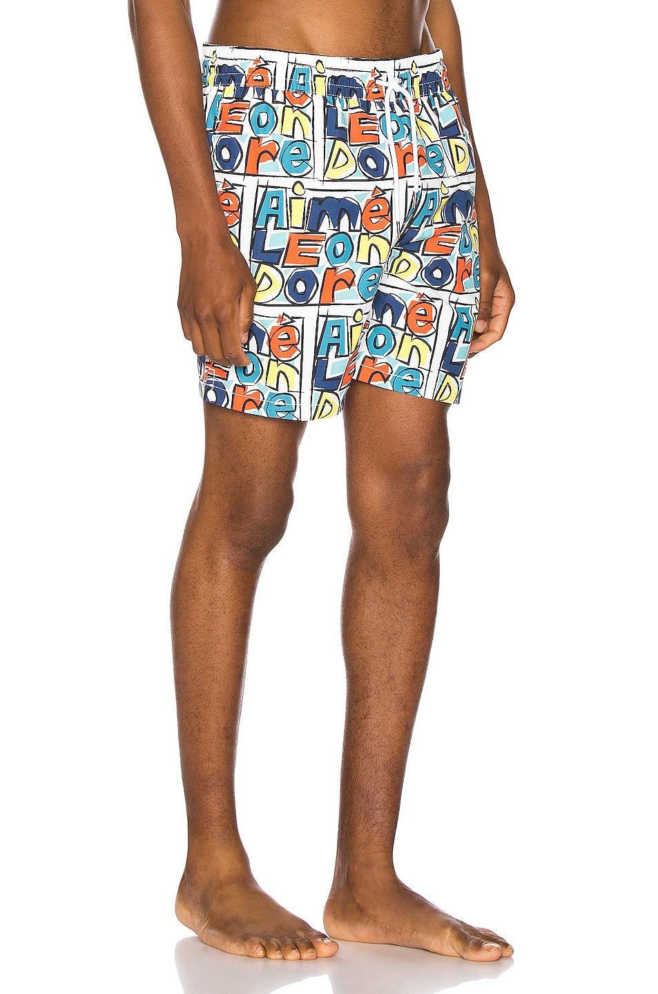 Image 2 of Aime Leon Dore Crayon Print Swim Trunks in Highlighter Yellow Combo