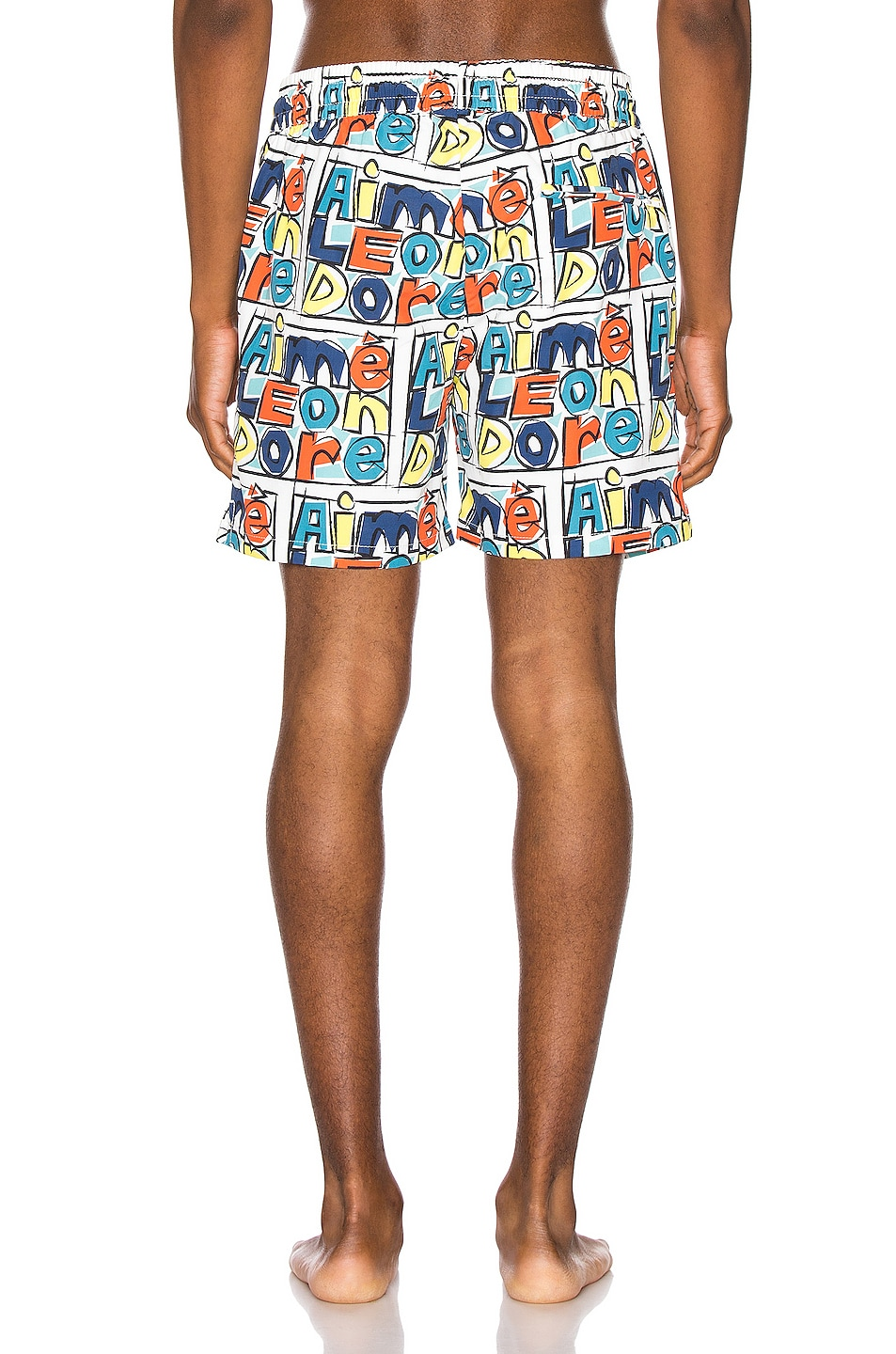 Image 3 of Aime Leon Dore Crayon Print Swim Trunks in Highlighter Yellow Combo